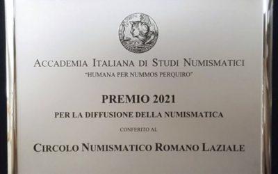 PREMIO 2021 PER ATTIVITA' A FAVORE DELLA CULTURA NUMISMATICA